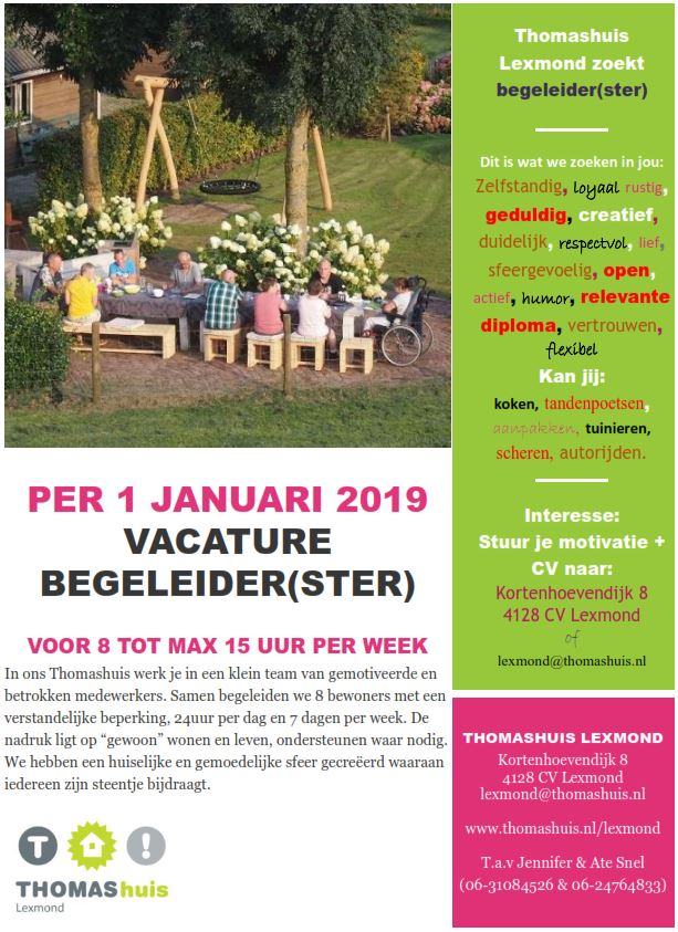 Vacature in Thomashuis Lexmond